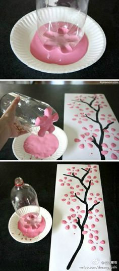Pretty spring kids crafts with only paint, a 2 liter bottle, paint, a paper plate, a paint brush and paper or canvas!