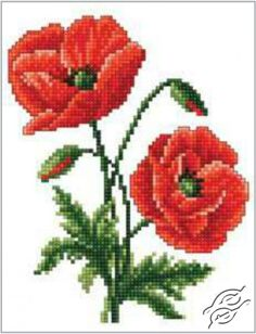 Red Poppies - Cross Stitch Kits by RTO - C182