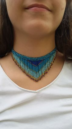fringe necklace necklace seed bead choker necklace Sea by UMEUM Beaded Choker Necklace, Fringe Necklace, Seed Bead Necklace, Seed Bead Jewelry, Diy Necklace, Beaded Jewelry, Handmade Jewelry, Jewelry Necklaces, Rhinestone Earrings