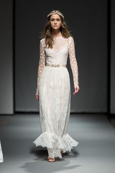 French lace, vintage inspired wedding gown for the modern bohemian bride - Hazel - featured at Riga Fashion Week