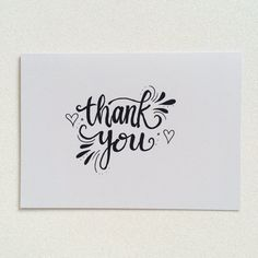 Thank you calligraphy greetings card.