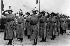 1 March 1916: A British women's fire brigade takes the salute