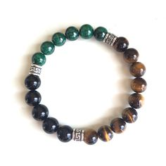 Focus - Genuine Black Onyx, Malachite & Tiger'e Eye Stones w/ Sterling Silver Celtic Spacers - Positive Energy