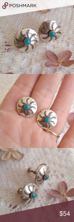 """Vintage sterling turquoise earrings screw back This beautiful pair of vintage earrings are made of solid Sterling Silver. Each one has a bright blue turquoise cabochon in the center. Each disc measures just under 3/4"""" across. The etched Southwestern style discs look like a pinwheel or sun rays! Screw backs. Stamped on the backs STERLING. This pair is in great shape with only a bit of age patina.  From a smoke free home :)   MOOND8388TURQ888 Vintage Jewelry Earrings"""