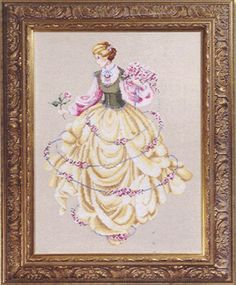 A lovely picture of a lady in a crinoline dress all decorated with pink roses.