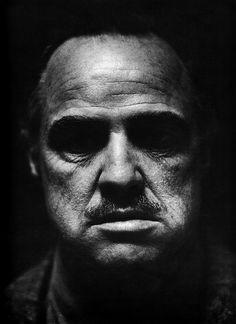 actors - Marlon Brando - Don Vito Corleone -the Godfather Foto Portrait, Portrait Photography, Photography Ideas, Black And White Portraits, Black And White Photography, Hollywood Stars, Old Hollywood, Hollywood Actresses, Marlon Brando The Godfather