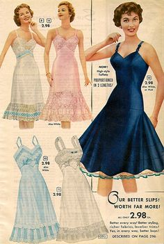 1956 fashion slip page 1930s Fashion, Vintage Fashion, Vintage Dresses, Vintage Outfits, Vintage Clothing, Vintage Underwear, Retro Lingerie, Dress Making Patterns, Beautiful Lingerie