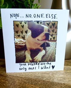 A personal favorite from my Etsy shop https://www.etsy.com/listing/469575751/only-want-your-kisses-funny-love-card