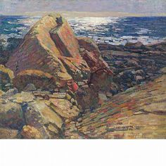 """""""Large Rocks and Shining Sun on the Water,"""" Charles Salis Kaelin, oil on canvas, 25 x 30 1/4"""", private collection."""