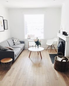 Scandinavian living room - EQ3 Oskar sofa, Normann Copenhagen Tablo coffee table + Eames armchair