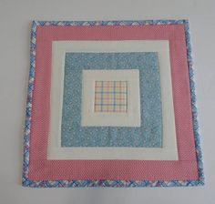 Quilted Table Topper in Pink and Blue Retro Quilted Table