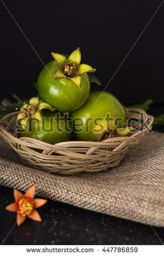Green pomegranate in basket closeup background, dark photography.