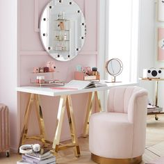 Benefit Cosmetics and PBteen Just Created the Dreamiest Mid-Century Modern Bedroom Collection For Girls Mid Century Modern Bedroom, Glam Room, Beauty Room, Home Living, Living Room, Dream Rooms, Luxurious Bedrooms, My New Room, Room Inspiration