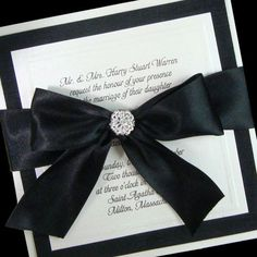 Change out the ribbon or back stock card to pink and this is pretty.black and white wedding invitations Wedding Boxes, Wedding Sets, Wedding Themes, Wedding Cards, Our Wedding, Dream Wedding, Formal Wedding, Wedding Castle, Wedding Story