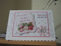 40th Birthday card,using  Tattered lace for the lacy edging and the Daisy flower where the number is