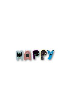 Monster happy,monster letters,monster,happy,fun,upbeat,modern,trendy,typography.cool text