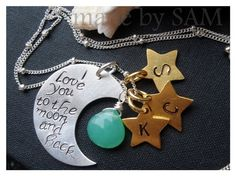 """EtSy shop>>>    madebysam      Personalized Bridesmaid Gifts & Everyday Jewelry   """"Family charm necklace , I love you to the moon and back - Crescent moon , 3 stars ,chrysophrase ,sterling silver - Personalized"""""""
