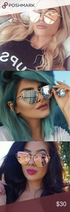 "⭐Fabulous Flat Lense Mirror Cat Eye Sunnies Oversized Flat Lense Mirror Chic Celebrity Style, Perfect For All Your Summer Fashion Trends!  - Flat Lense - Cross Bar - Hand Polished - Metal Frame - UV 400 - Bridge Width: 0.8"" - Glass Height: 2.0"" (Single Glass) - Frame Width: 2.1"" - Overall Width of Frame: 5.1"" - Temple Length: 5.5"" -  Microfiber Pouch -  Beautiful Quality -  New in Package   ▪ No Trades ▪ Fast Shipping Moda Ragazza  Accessories Sunglasses"
