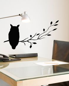 """Hoot Owl decal 7"""" X 18"""" sitting on tree branch Silhouette, vinyl wall decals, woodland, rustic, majestic, forest"""
