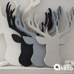 Jeleń - dekoracja w stylu skandynawskim. Autor: Manufaktura Słów. Do kupienia w atelio.pl | #scandi #skandynawski #jeleń #deer #design #wood