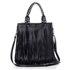 $16.20 Casual Black and Tassels Design Women's Tote Bag