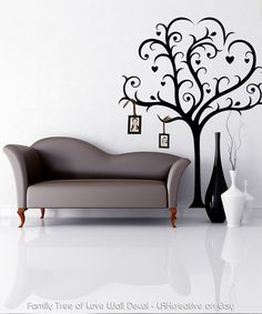 Wall Decal - Family Tree of Love -  now available on Etsy. (The hanging photos are just an idea)