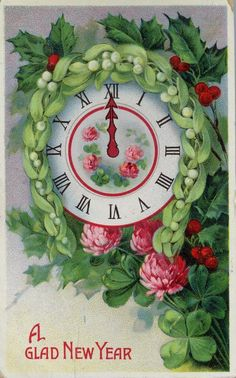 Vintage New Year Postcard 1913 Vintage Happy New Year, Happy New Year Cards, New Year Greeting Cards, New Year Greetings, Vintage Greeting Cards, Xmas Cards, Vintage Postcards, Holiday Cards, Holiday Postcards
