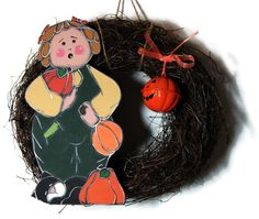 Twig wreath with pumpkin - Autumn wreath, Halloween wreath - Pumpkin wreath de… Twig Wreath, Pumpkin Wreath, Autumn Wreaths, Fall Pumpkins, Decoration, Christmas Ornaments, Holiday Decor, Etsy, Warm Colors