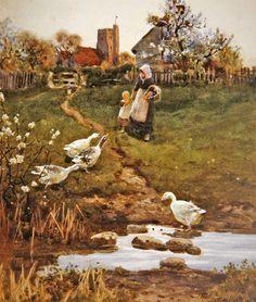 Returning Home, 1894 (w/c on paper) by Thomas James Lloyd - print