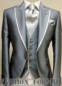 Gray and pearl gray luxury groom suit.  www.ottavionuccio.com info@ottavionuccio.com