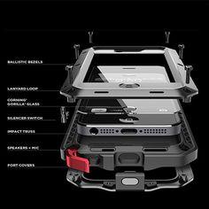 2016 doom armor waterdicht schokbestendig stofvrije buitensporten telefoon case voor iphone 5 5 s se metalen aluminium gehard glas cover