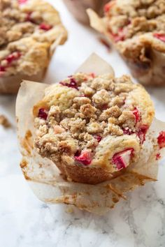 Bakery-Style Strawberry Rhubarb Buttermilk Muffins with Brown Sugar Crumble