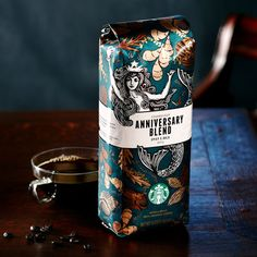Starbucks Anniversary Blend coffee bag. Love that mermaid and the teal/copper color scheme.