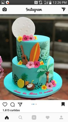 Luau Cakes, Ocean Cakes, Beach Cakes, Party Cakes, Hawaiian Party Cake, Hawaiian Birthday Cakes, Fruit Birthday, Hawaii Cake, Summer Cakes
