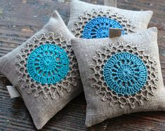 Lavender sachets  crochet motif  set of 3