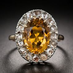 Antique Citrine and Rose-Cut Diamond Ring