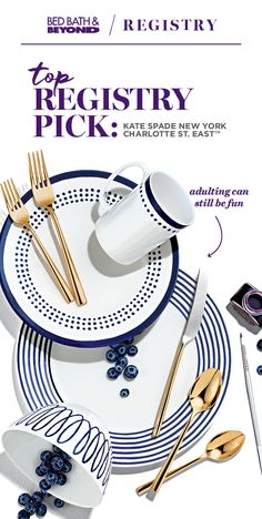 Create a registry to add Charlotte Street East from kate spade new york. Sophistication and style come together to give you a formal dinnerware set with a modern, playful edge. It's perfect for girls' nights, Friendsgiving and every special occasion in between.