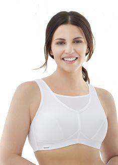 c8ec2959903 Glamorise Women s No-Bounce Full-Support Sport Bra White 38D Plus Size  Women