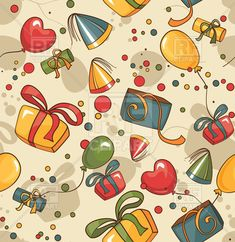Birthday and party seamless wrapping paper with balloons and gifts, 36895, download royalty-free vector clipart (EPS)
