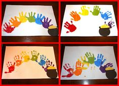 St. Patrick's Day hand print rainbow & pot of gold; visit http://loganfamilyof5.blogspot.com/2012/03/st-patricks-day-craft-party.html for more St. Patrick's Day fun. #prek
