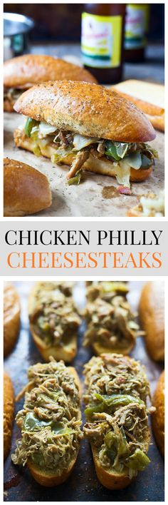 Chicken Philly Cheesesteaks - all of the flavor of a classic cheesesteak, but with shredded chicken thighs instead.