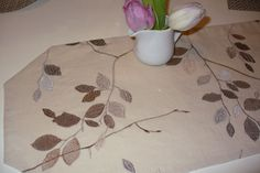Linen table runner with embroidery and lining size by Emurs, $30.00