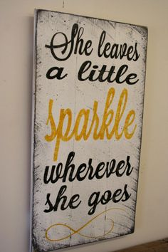 She Leaves A Little Sparkle Wherever She Goes Nursery Decor Girls Bedroom Sign…
