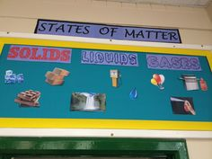 """Science """"States of Matter"""" display. I downloaded some funky fonts from www.Dafont.com  Give it a try"""