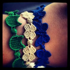 #Cruciani macramè #bracelets: little devil, four leaf clover, butterfly