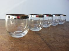 Set Of 5 Dorothy Thorpe Roly Poly Silver Rimmed Drinking Glasses Mad Men Mid Century Modern Barware