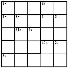 Number Logic Puzzles: 23806 - Kenken size 5