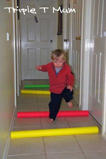 Gross Motor Development noodle obstacle course