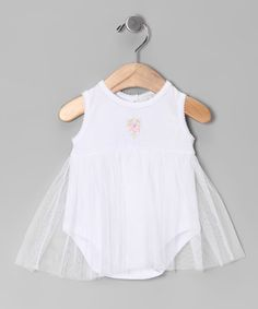 Look what I found on #zulily! White Bouquet Tulle Pima Skirted Bodysuit - Infant #zulilyfinds