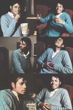Michael Jackson ...smiling eating popcorn :)